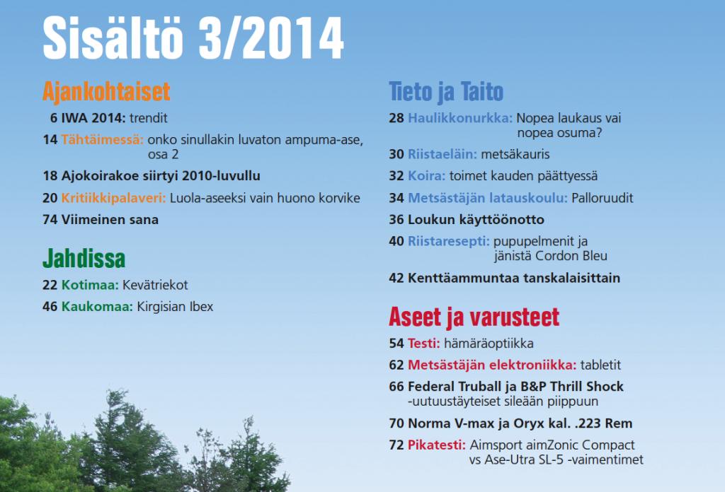Riista 3/2014 Sisältö